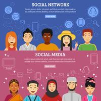 Social Network Banner eingestellt vektor