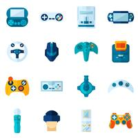 Videospiel-flache Ikonen eingestellt vektor