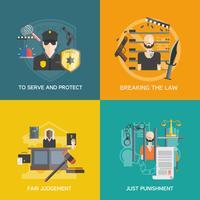 Urteil und Bestrafung Icons Set
