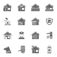 Smart hem säkerhetssystem svarta ikoner inställda