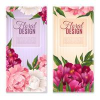 Blommor Design Banners Set vektor