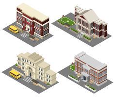 Schule isometrische Icons Set