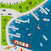 Luftansicht-Draufsichtplakat des Küstenhafens