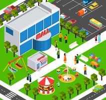 Köpcentrum mitten isometrisk banderoll