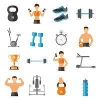 Fitness Plattforms ikoner Set