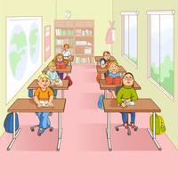 Barn i skolan tecknad illustration