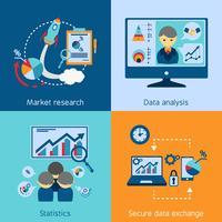 Dataanalys 4 platta ikoner kvadratiska