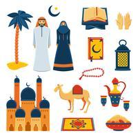 Flache Ikonen der Islamreligion eingestellt vektor