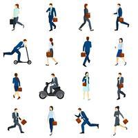 Affärsmän som arbetar med platta ikoner