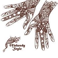 Dekorative Hände mit Hennastrauch-Tätowierungen vektor