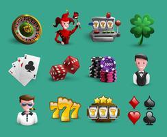 casino tecknad ikoner set