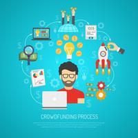Crowdfunding-Konzept flach