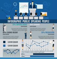 Infografiska folk som talar från podium vektor