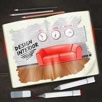 Interiör skissbok illustration