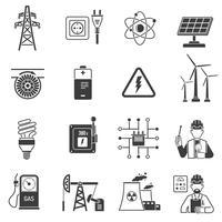 Energikraft svarta ikoner inställda
