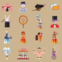 Cirkus retro plana ikoner som skrivs ut