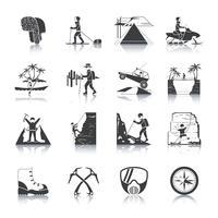 Expedition Icons schwarz gesetzt