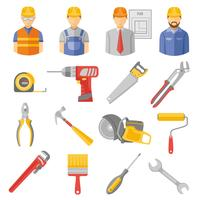 Flache Ikonen der Bauarbeiterwerkzeuge eingestellt