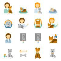 Flache Ikonen der Tierklinikpraxis eingestellt