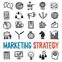 Marketingstrategie Icons Set vektor