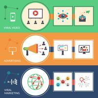Flache Fahnen der viralen Marketingstrategie eingestellt vektor