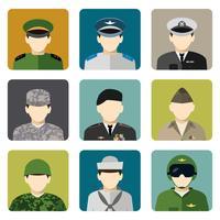 Militär sociala nätverk avatar ikoner uppsättning