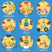 Cykel ikoner Set vektor