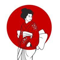 Geisha Stående Illustration