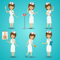 Krankenschwester-Zeichensatz vektor