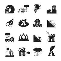 Naturkatastrofer Monokrom ikoner Set vektor