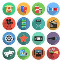 Film ikoner platt uppsättning