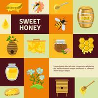 Süßer Honig Icons Set vektor