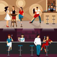 Människor dricker i baren