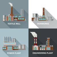 Fabriksdesign Ikoner Set