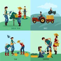 Gartenarbeit-Leute-Flaches Set