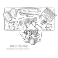 Programmierer-Arbeitsplatz-Skizze