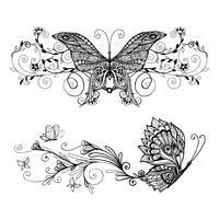Dekorativa Butterflies Set vektor
