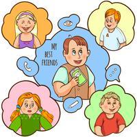 Barn Vänskap Cartoon Concept vektor