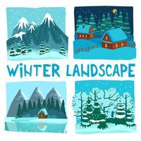 Vinterlandskap Digital grafisk uppsättning