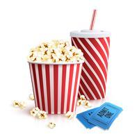 Cola Popcorn och biljetter vektor