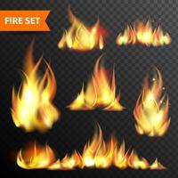 Fire glödande flammar ikoner uppsättning vektor
