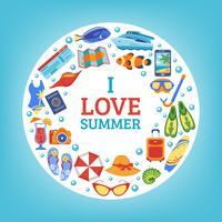 Sommar semesterkoncept cirkel komposition poster