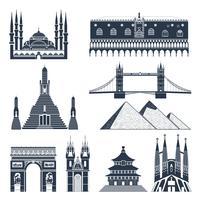 Landmärken och monument Svart uppsättning vektor