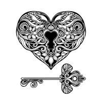 Dekorativ nyckel och lås