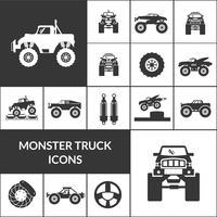 monster truck icons set vektor