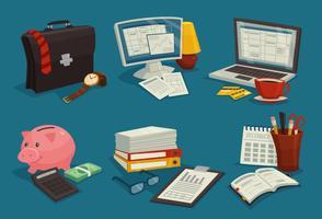 business cartoon ikoner uppsättning vektor