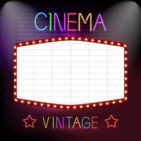 biograf neon tecken vektor