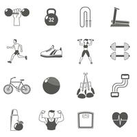 Fitness schwarze Icons Set vektor