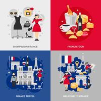 Frankreich Flat Set vektor