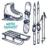 Skizzieren Sie Wintersportobjekte vektor